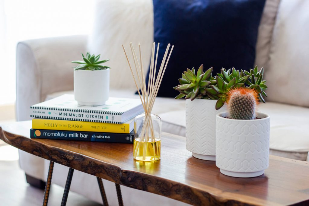 DIY Reed Diffuser on Coffee Table