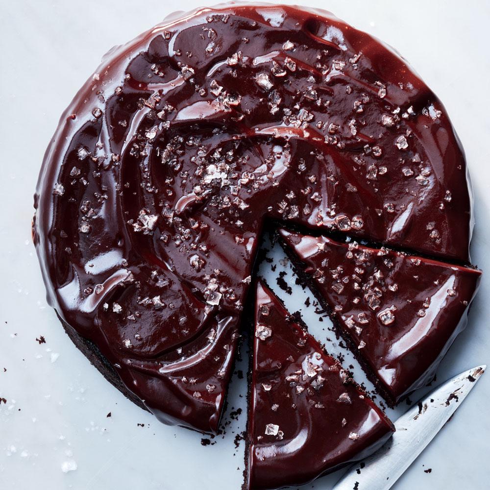 Round Chocolate Cake Sliced